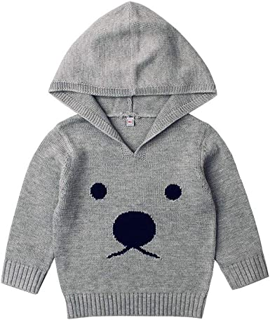 KONFA Toddler Newborn Baby Girls Boys Cartoon Bunny Hooded Sweater,Kids Warm Knitted Pullover Tops Fall Winter Clothes