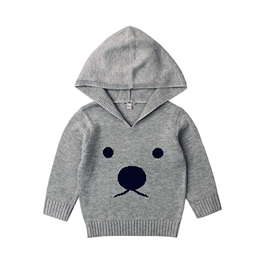 f1594744b Littleice Baby Sweater Pullover Tops Boys Girls Cartoon Bear Knitted Hooded  Winter Warm Sweaters Outfits (