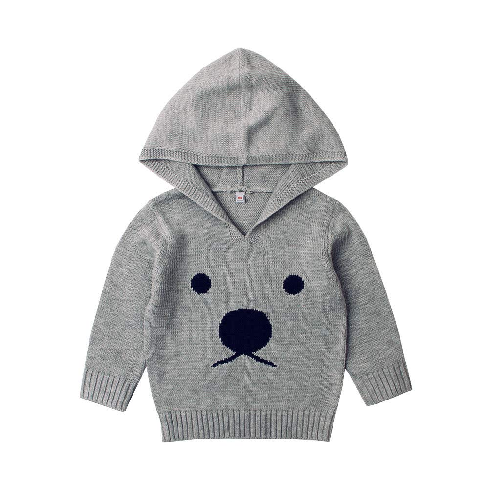 DDLBiz Newborn Infant Baby Boys Girls Cartoon Bear Knitted Hooded Tops Sweater Outfits (Gray, 12M)