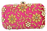 Tooba Handicraft Party Wear Hand Embroidered Box Clutch Bag Purse For Bridal, Casual, Party , Wedding ( rani zari zirkon 6x4 )