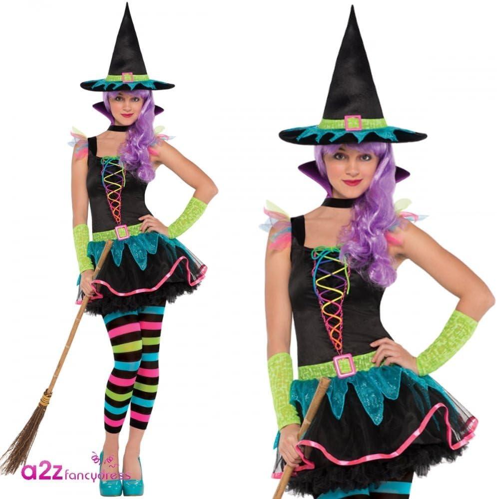 amscan- Disfraz de Bruja de neón para Adolescentes de 10 a 12 años ...