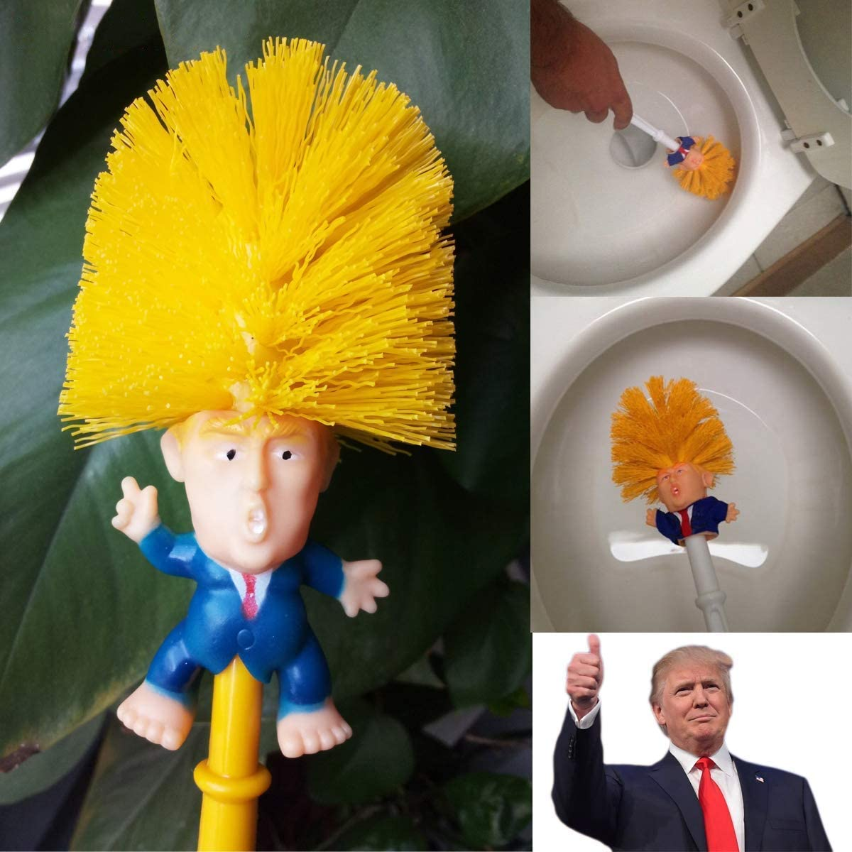 Brosse de Toilette Trump Nettoyant Brosse de Toilette Cadeaux Pr/ésident nouveaut/é, love planet Brosse de Toilette Trump Originale Jaune