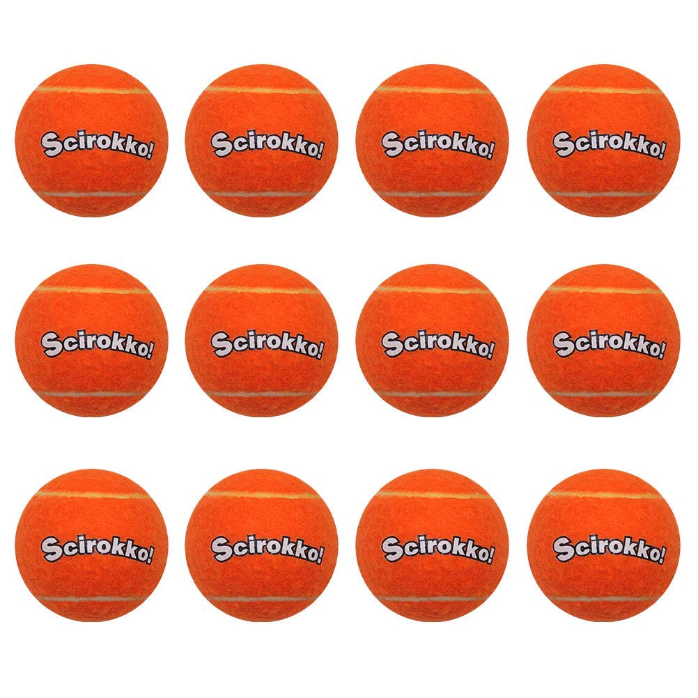 SCIROKKO 12 Pack Dog Squeaky Tennis Balls for Pet Playing Fetching, Orange Attractive Toys - 2.5 inches by SCIROKKO