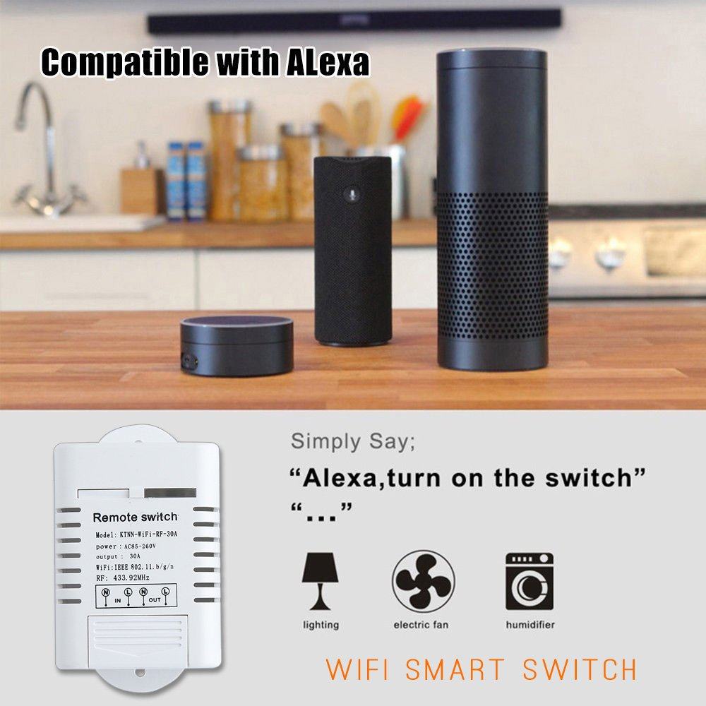 AC 110V,220V 30A WiFi & Remote Smart Switch, Wireless Relay
