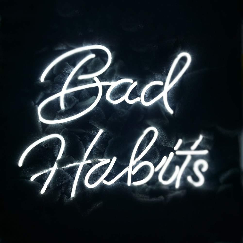 LiQi Bad Habits Neon Sign (14'' x 11.5''Large)Real Glass Acrylic Panel Handmade for Home Bedroom Pub Hotel Beach Recreational Game Room Decor