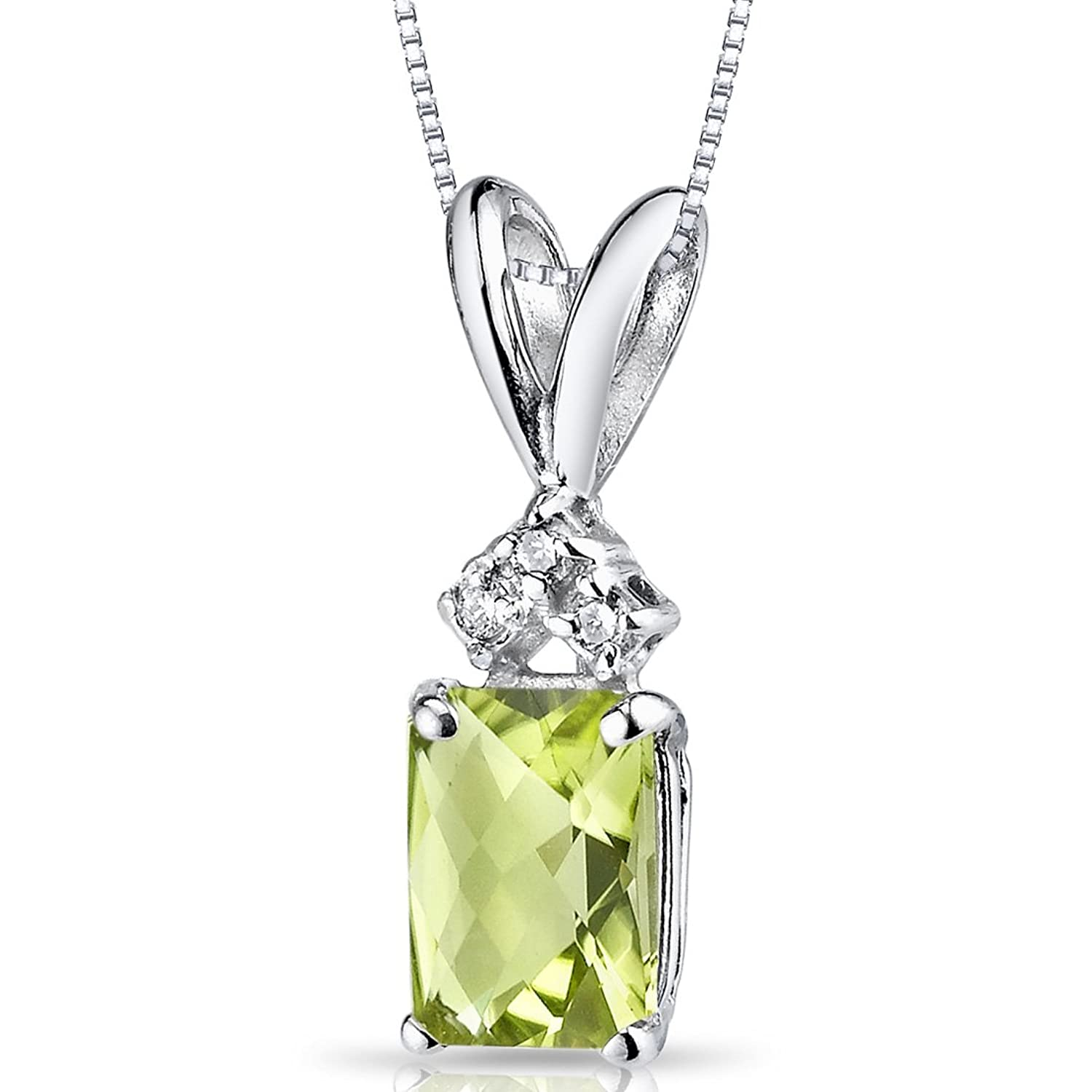 14 Karat White Gold Radiant Cut 1.00 Carats Peridot Diamond Pendant
