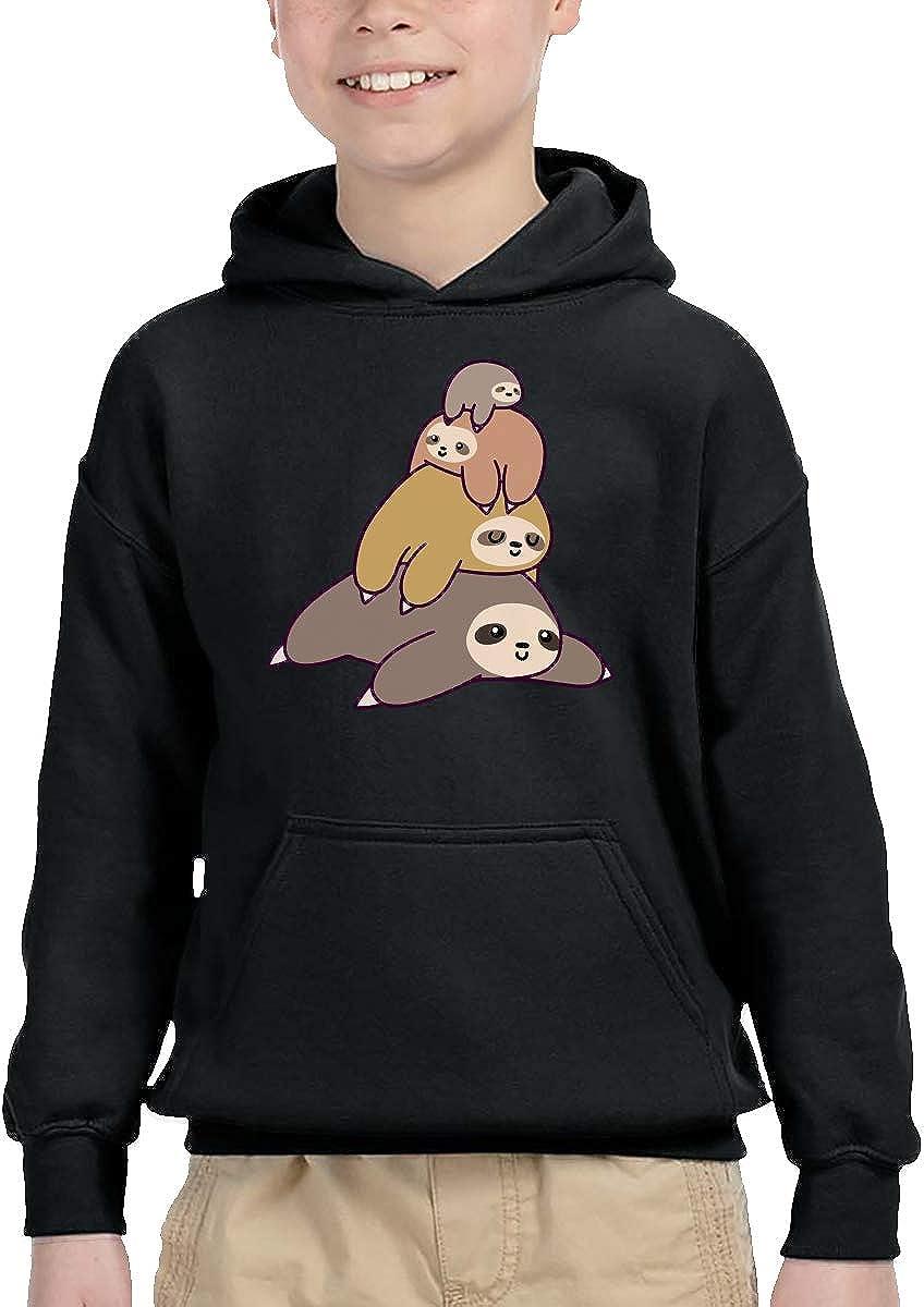 UGFGF-1S Sloth Stack Kid Boys Girls Long Sleeve Sweatshirts Hooded Hoodie 2-6T
