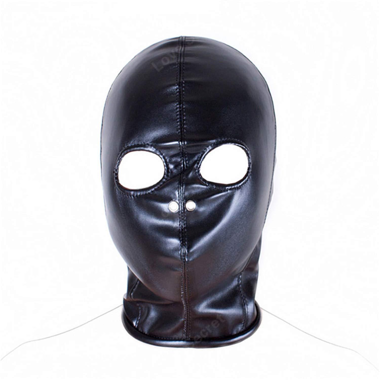 spyman childrens-party-favor-sets PU Leather Bondage Sex Products Open Eye  Mask Fetish Bondage Restraint Slave Mask Hood Sex Toys for Couple Women in  Adult ...