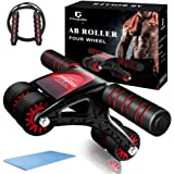 Integlobe Ab Roller for Abs Workout,Super Stable 4-Wheel Ab Roller Wheel with Jump Rope and Knee Mat,No Assembly Needed Ab Wh