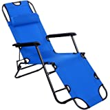 F&D Folding Chaise Lounge Chair Folded Recliner Beach Chaise Portable Cot w/Adjustable Pillow (60 inch, Blue)