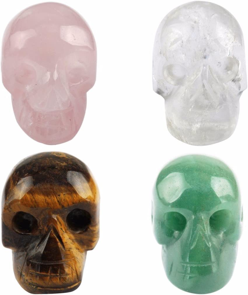 rockcloud Healing Crystal Stone Human Reiki Skull Figurine Statue Sculptures Mixed Stone(Pack of 4) 1
