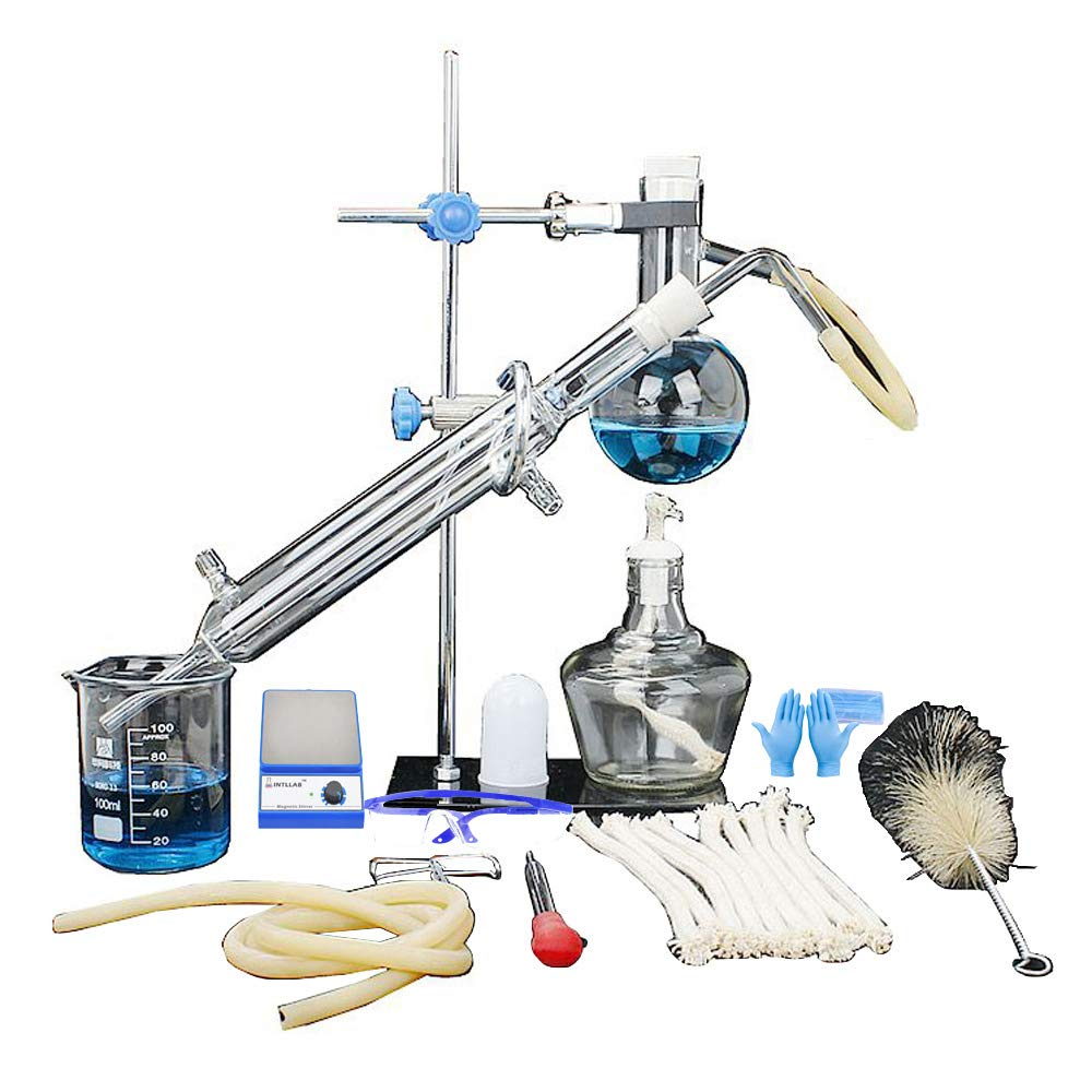 Laboratory Magnetic Stirrer Mixer, Distillation Unit Set Laboratory Glassware Industrial Science Distiller Pure Dew Purification Making Essential Oils Alcohol Distilled Water Filter Chemical Laboratory Ke-mixer