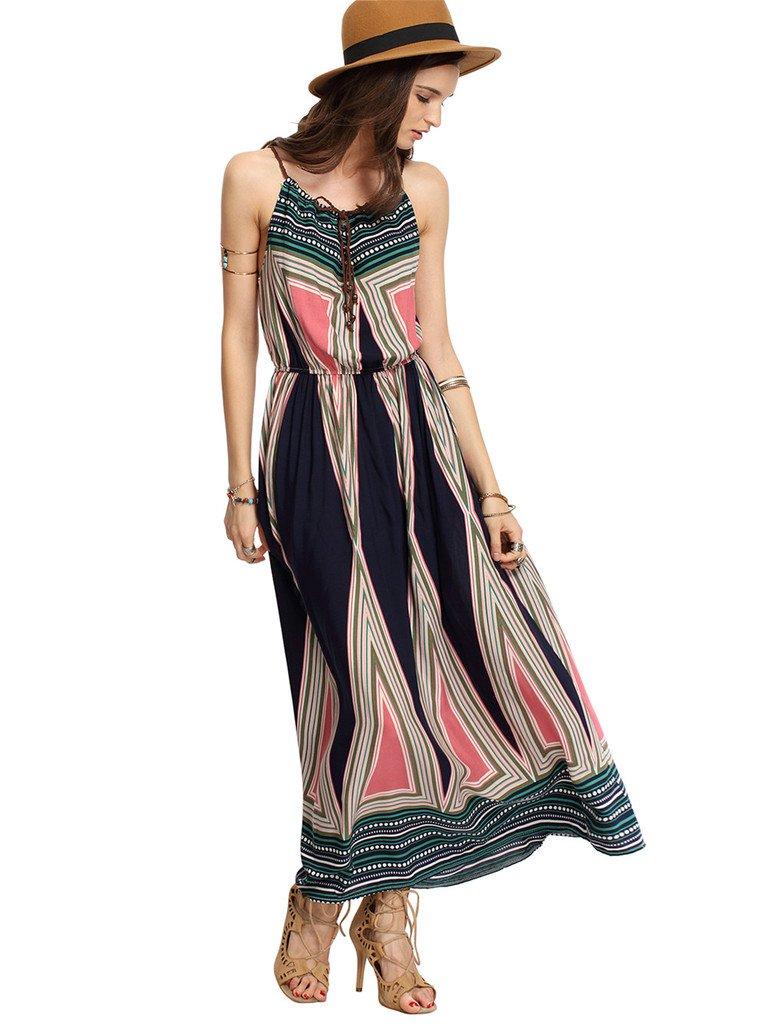 Ayliss Women\'s Spaghetti Strap Stretch Tunic Waist Bohemian Maxi Dress Beach Dress,#2 L