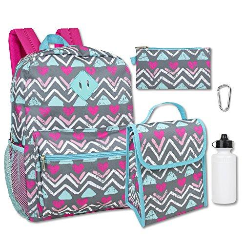 Girl's 5 in 1 Full Size Backpack Set (Chevron) (Girls Backpack)