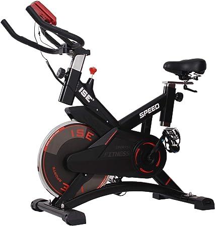 ISE Bicicleta Estática de Spinning Profesional con Sensor de Pulso,Ajustable Resistencia, Pantalla, Bicicleta Fitness de Gimnasio Ejercicio con ...