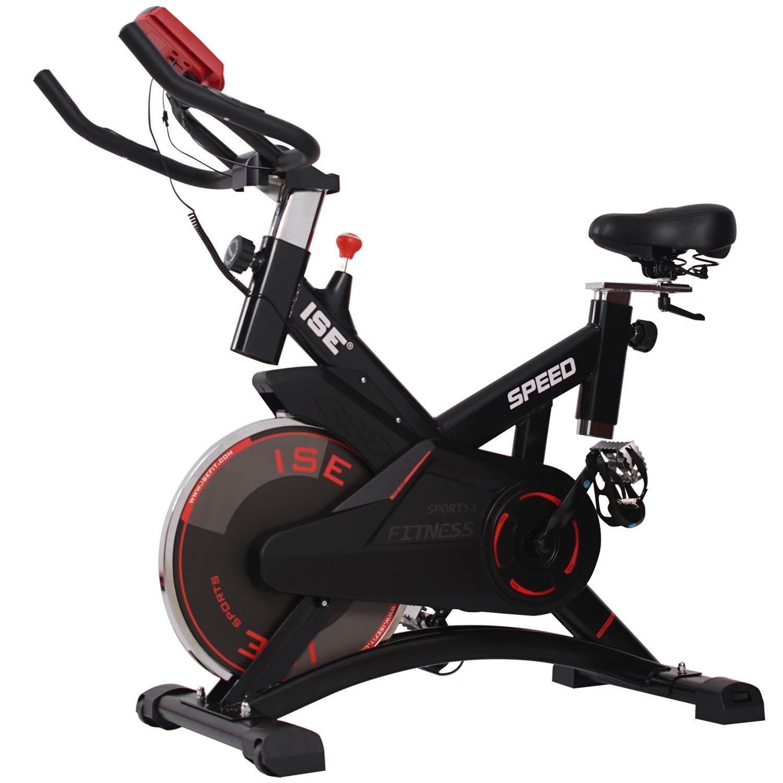 ISE Bicicleta Estática de Spinning Profesional con sensor de pulso, resistencia ajustable y pantalla