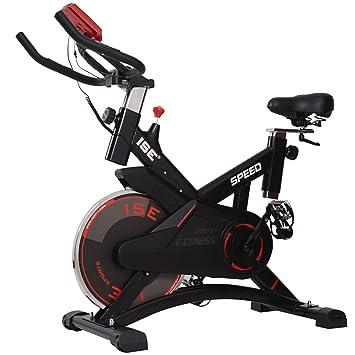 ISE Bicicleta Estática de Spinning Profesional con Sensor de Pulso,Ajustable Resistencia, Pantalla,