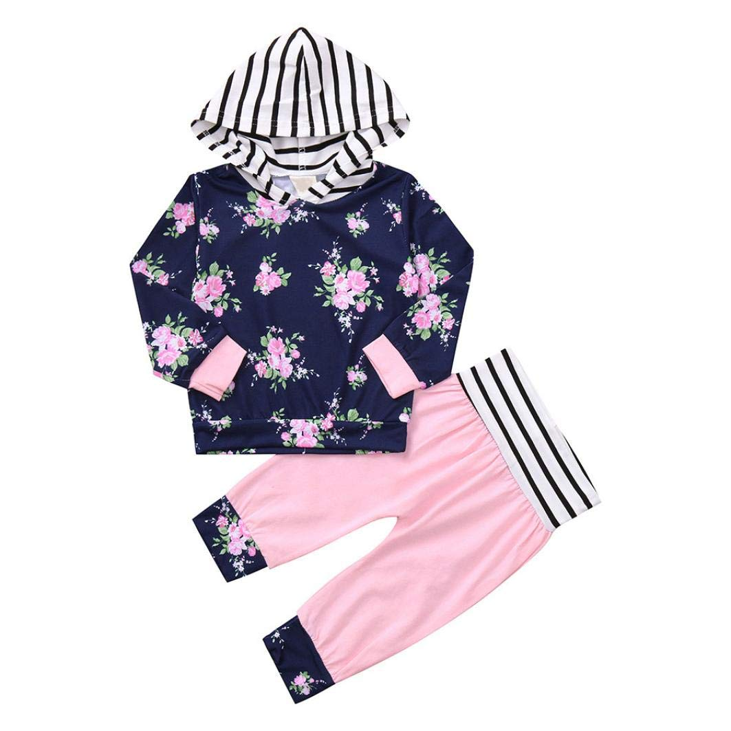 WARMSHOP Zero Shipping Newborn Baby Girls Long Sleeve Floral Stripe Print Sweatshirt Tops and Pants Outfits Set