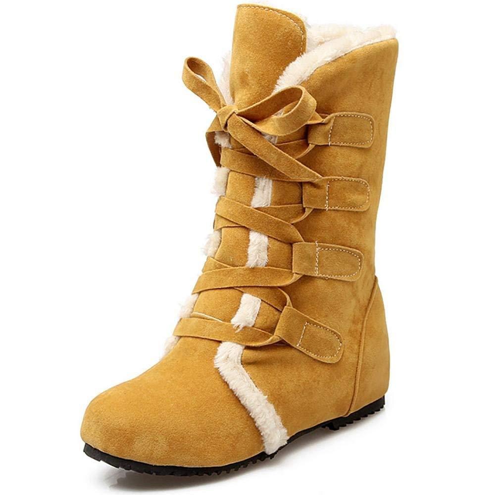 ZHRUI Winter Damen Round-Toe Schnürsenkel Highlanders-Tall Quilt Snow Stiefel (Farbe   Braun, Größe   44)