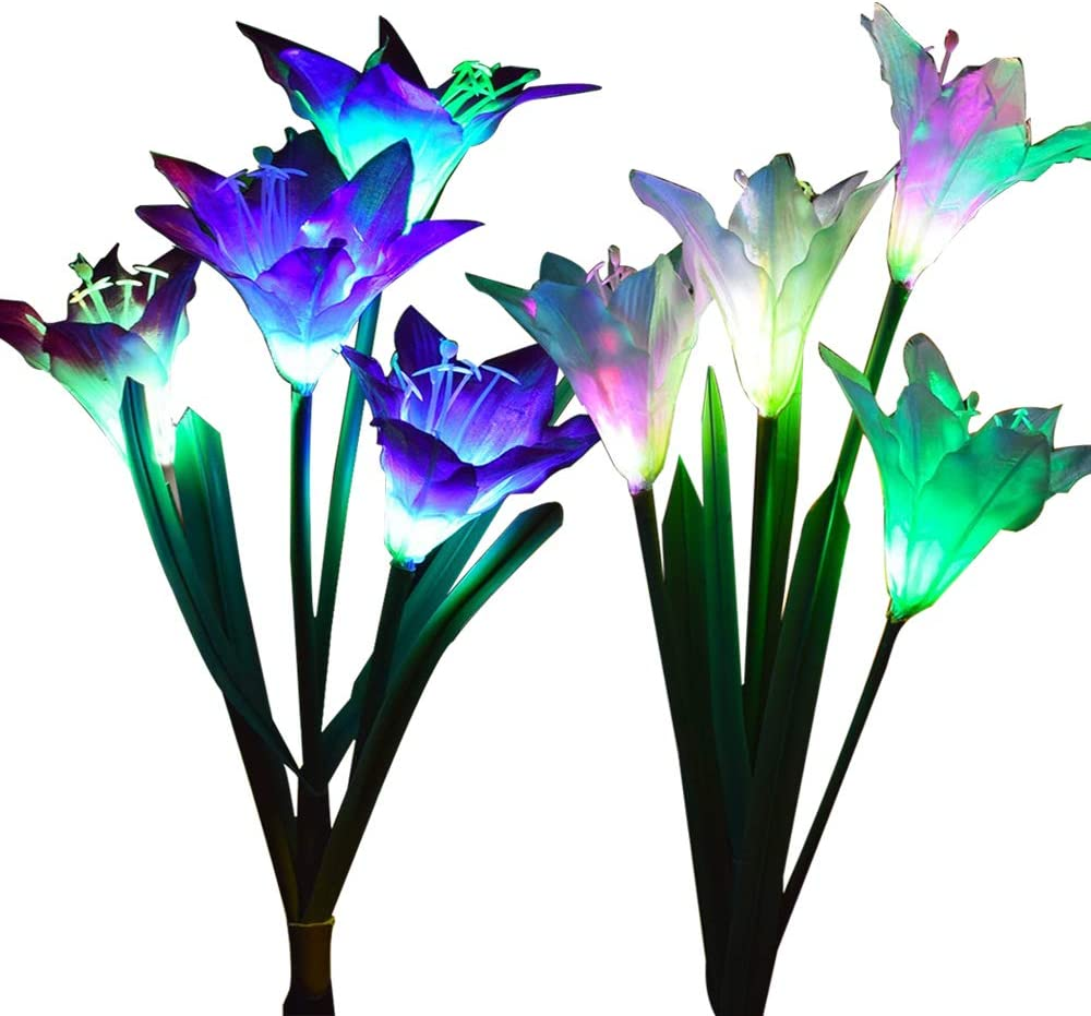 Outdoor Solar Garden Stake Lights Wohome 2 Pack Solar Flower Lights With 8 Lily Flower Multi Color Changing Led Lily Solar Powered Lights For Patio Yard Decoration Amazon Com
