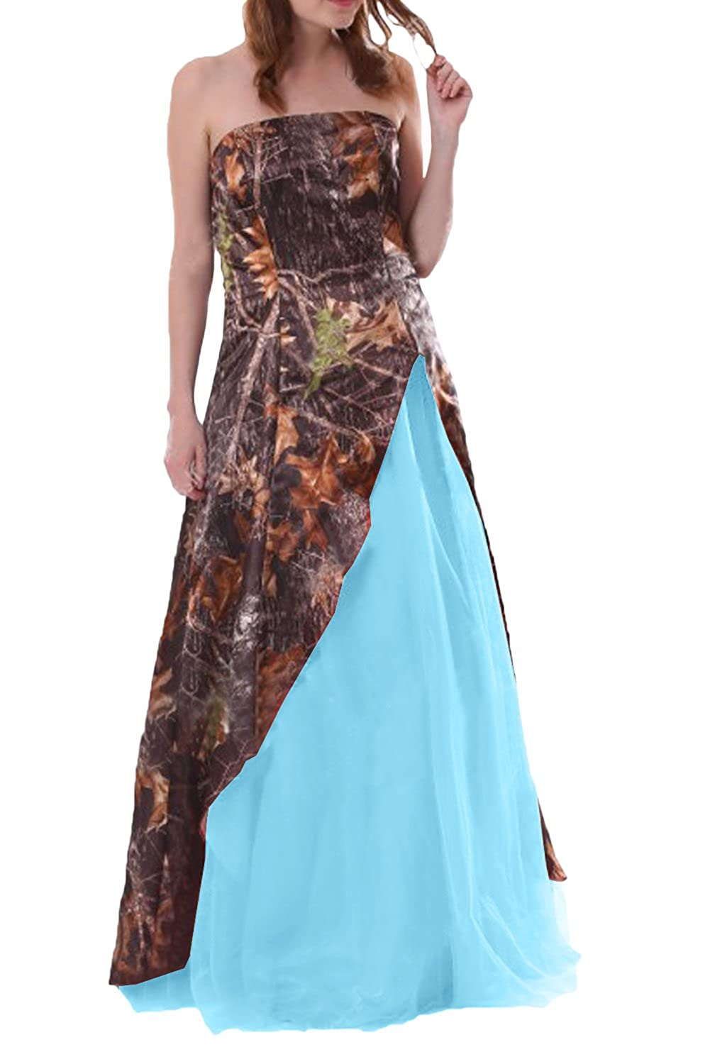 Dingzan Womans Strapless Camo And Tulle Wedding Guest Bridesmaid