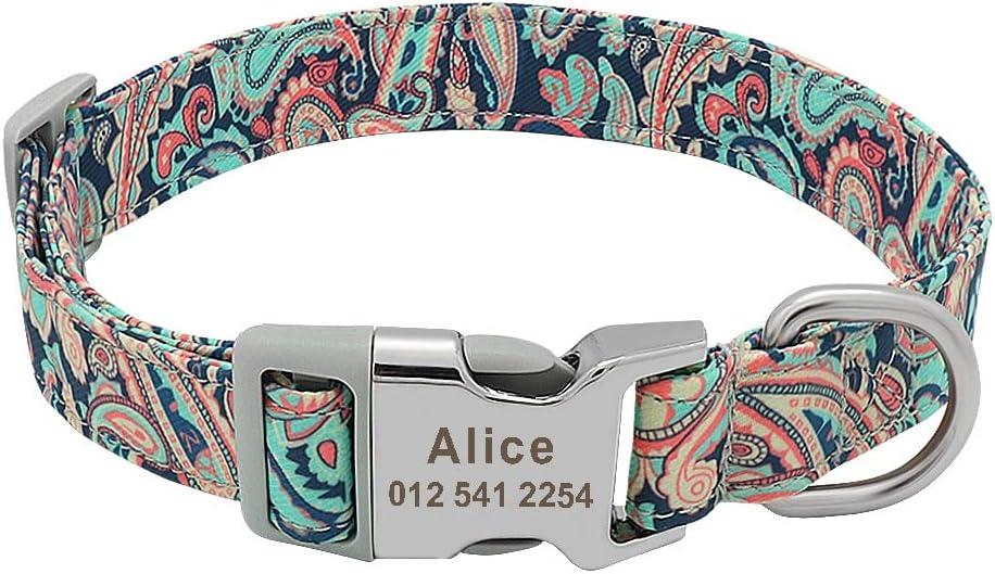 Collar de nailon personalizado para mascotas con grabado personalizado para perros pequeños, medianos y grandes (grande, aguamarina de cachemira)