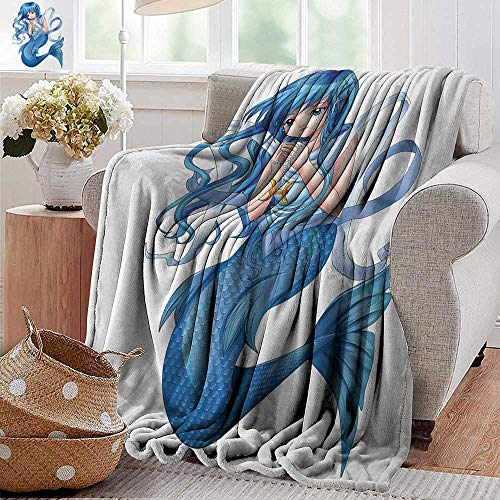 "XavieraDoherty Throw Blankets Fleece Blanket,Anime,Manga Cartoon Style Character of a Pisces Girl Horoscope Zodiac Themed Avatar,Blue and White,300GSM, Super Soft and Warm, Durable 50""x70"""