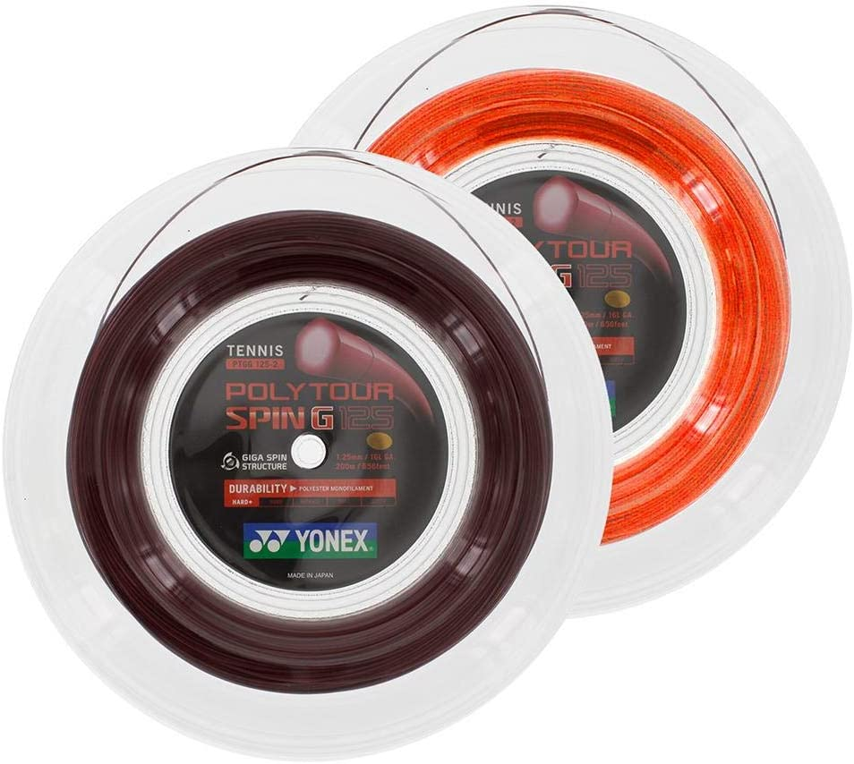 YONEX Unisex/ 1,25 mm Erwachsene Poly Tour Spin G 200m dunkelred Tennis-Saite rot rot