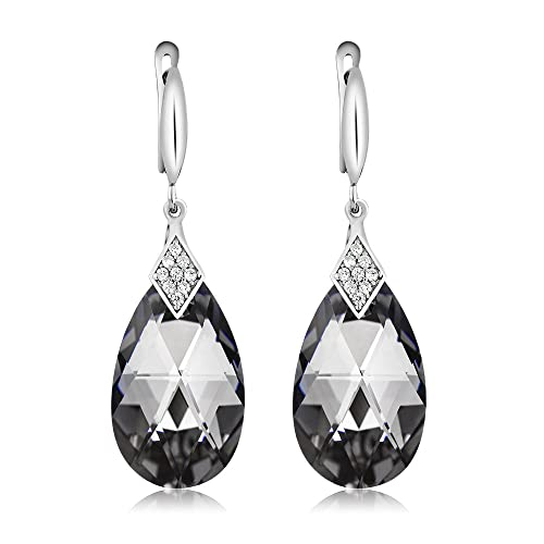 Nirano Collection Silver Night Teardrop Earrings Made with Swarovski Crystals