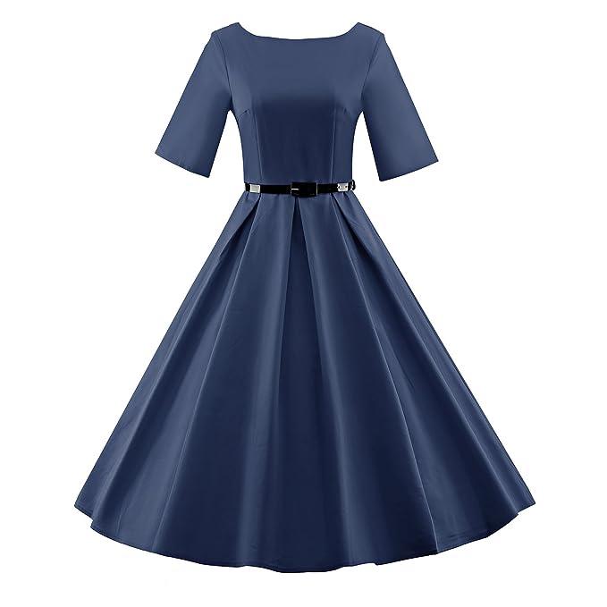 Vestidos Vintage Retro Rockabilly Fiesta cóctel vestidos de noche manga corta,azul,xxxl