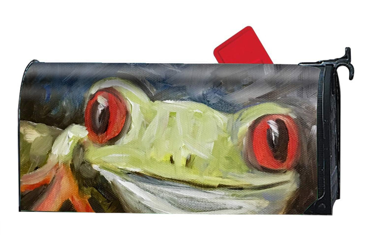 DHDFHDF Happy Frog Custom Magnetic Mailbox Cover Mail Wrap for Large Mailboxes Size 9 × 21''