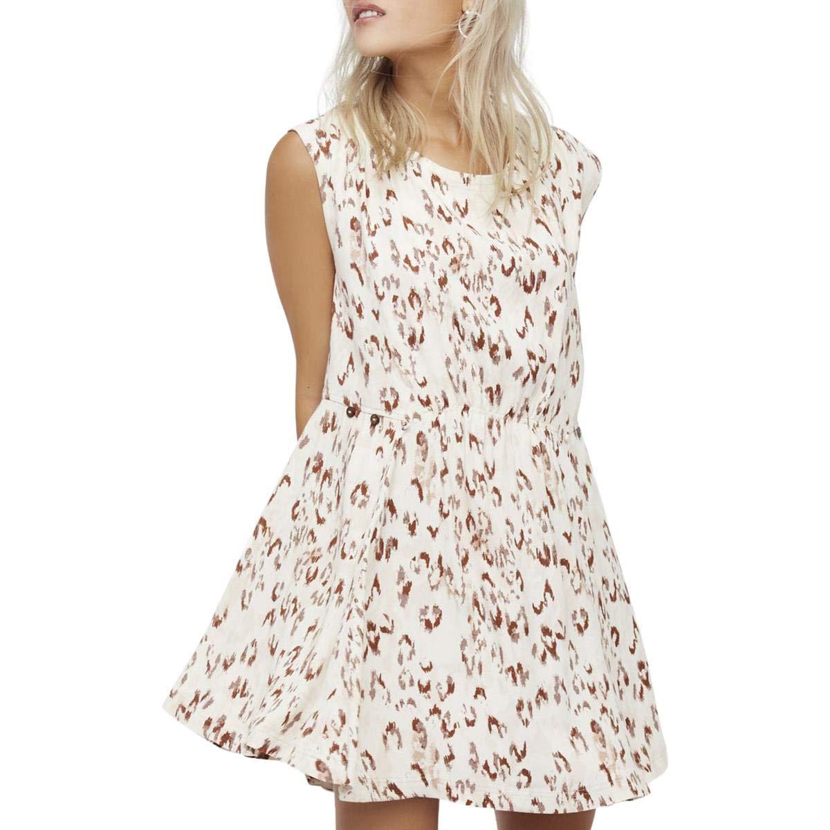 Free People Womens Fake Love Sleeveless Open Back Mini Dress Ivory XS