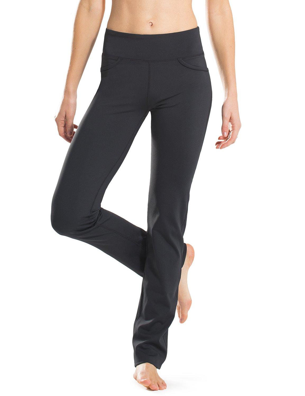 Safort 71cm/76cm/81cm/86cm Cucitura Interna Normale/Alti Pantaloni Yoga Gamba Dritta, Quattro Tasche, Non Trasparenti, Neri
