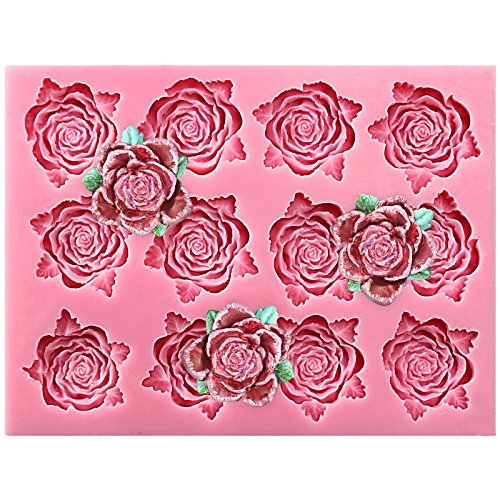 Bold Blossom Roses With Leaves Sugarcraft Silicone Mold Sugar Paste, Chocolate, Fondant, Butter, Resin, Cabochon, Polymer Clay, Fimo, Gum Paste, Pmc, Wax, Candle, Soap Making 17.4x14x1.7cm