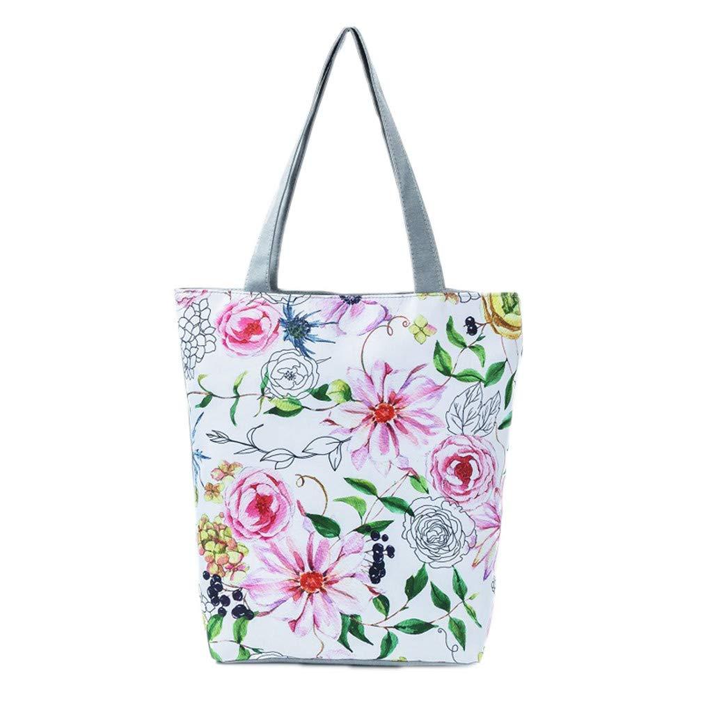 Beach Bags Canvas Shoulder Handbags Women Single Shopping Bag 001277D