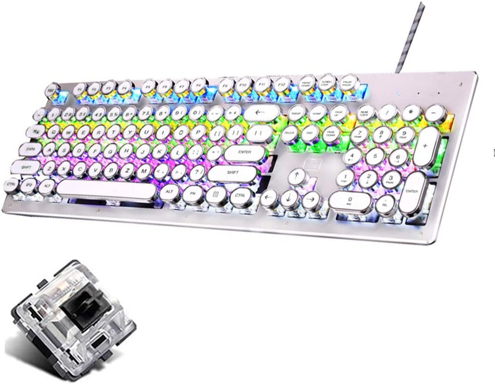 OFNMD Mechanical Black Switch Gaming Keyboard,RGB Backlight Retro Punk Keycaps Multimedia Ergonomic USB Wired Game Keyboard for PC Laptop//Computer QWERTY Key