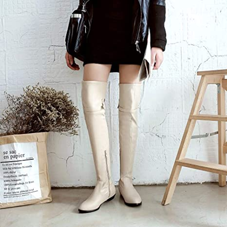 Amazon.com: COPPEN Women Long Boots Knight Round Head High Belt Buckle Flat Boots: Clothing
