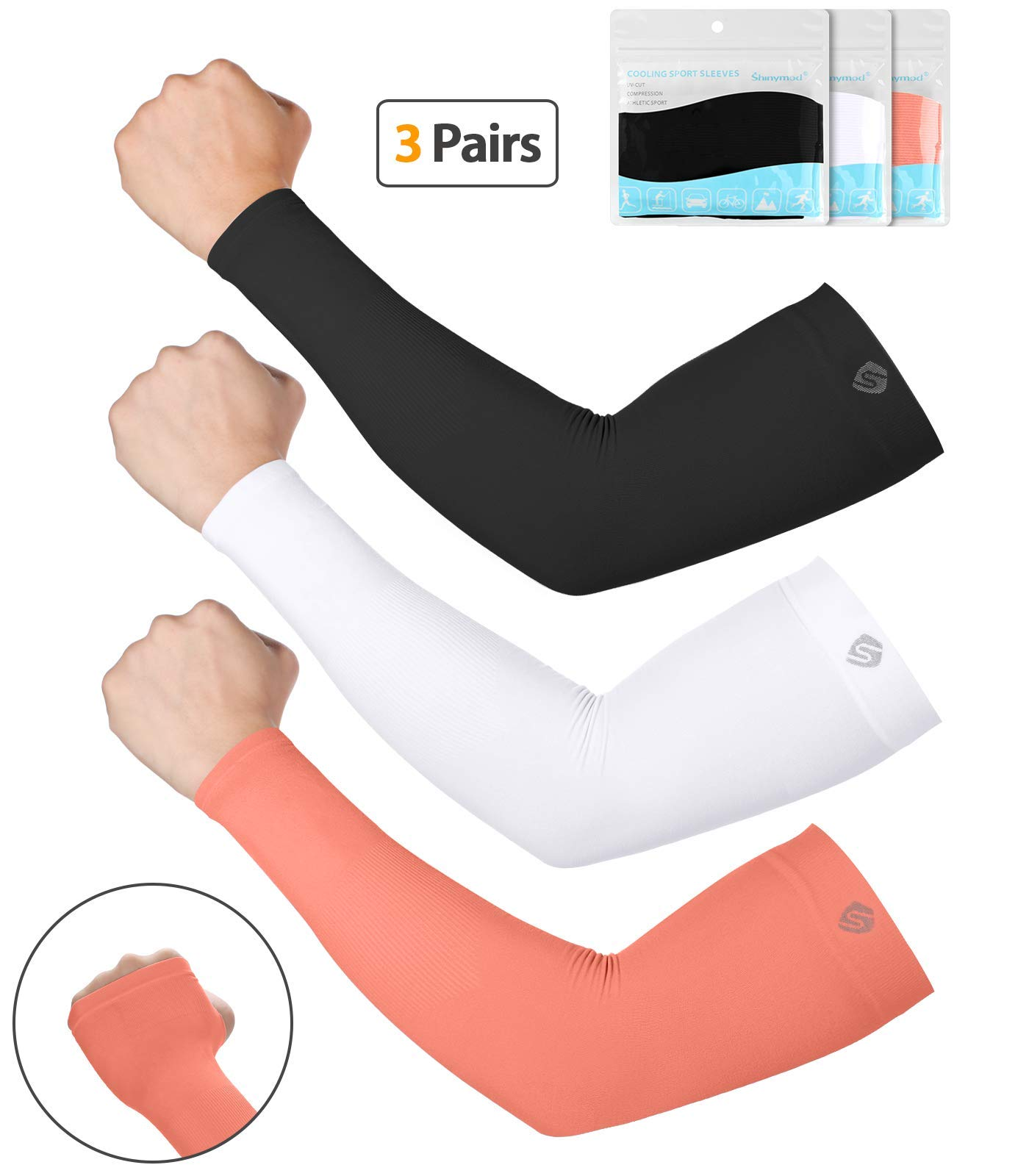 SHINYMOD UV Protection Cooling or Warmer Arm Sleeves for Men Women Kids Sunblock Protective Gloves Running Golf Cycling Driving Long Tattoo Cover Arm Warmer-Black White LivingCoral