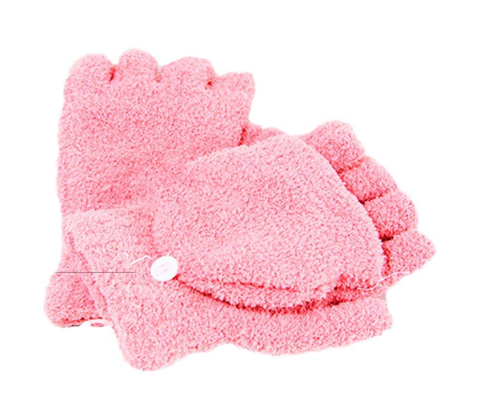 King Ma Women Fingerless Winter Half Finger Flip Knitted Glove with Mitten Cover (Pink)