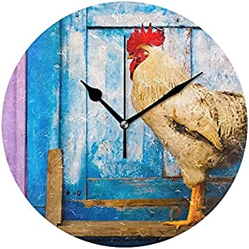 WellLee Old Rooster Clock Acrylic Painted Silent Non-Ticking Round Wall Clock Home Art Bedroom Living Dorm Room Decor