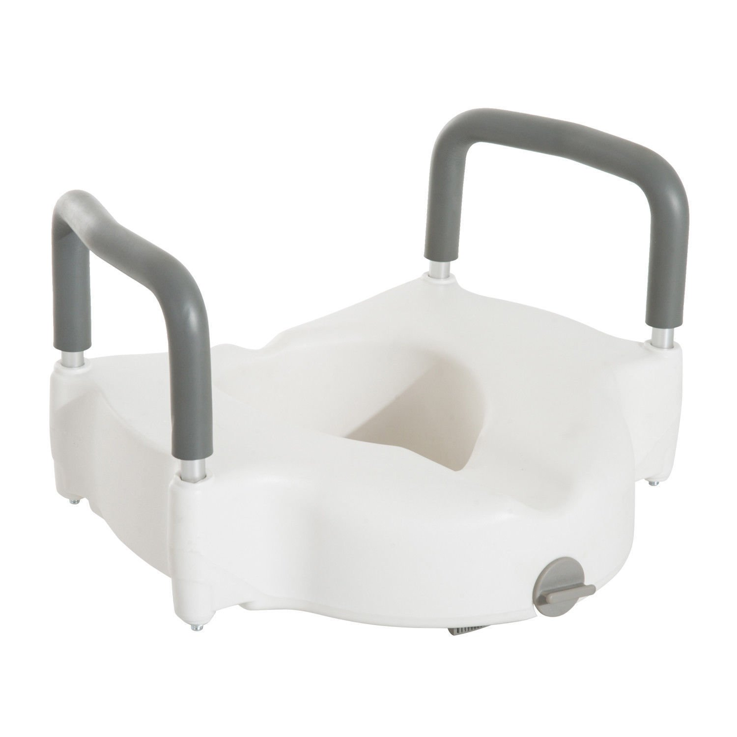 HOMCOM Medical Assist Lightweight Locking Raised Toilet Seat With Removable Arms