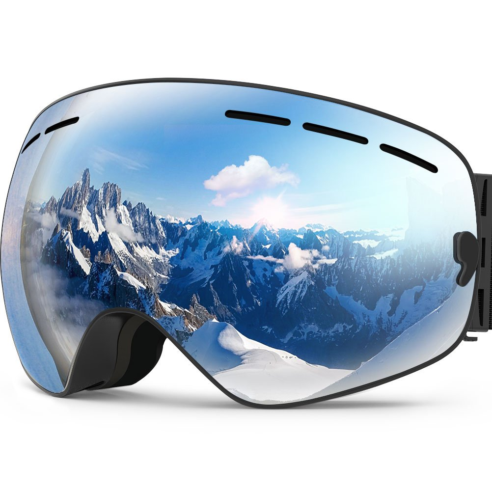 b5c0a9d15c0e Amazon.com   Zionor X Ski Snowboard Snow Goggles OTG Design for Men Women  with Spherical Detachable Lens UV Protection Anti-Fog   Sports   Outdoors