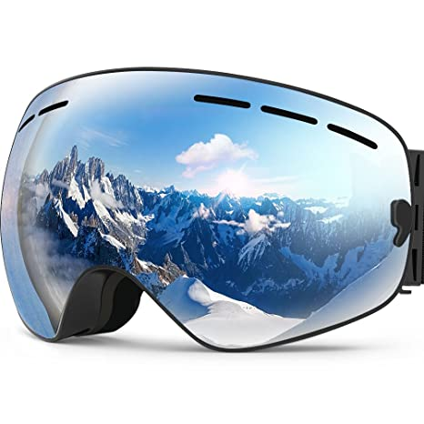 81017363c496 Amazon.com   Zionor X Ski Snowboard Snow Goggles OTG Design for Men Women  with Spherical Detachable Lens UV Protection Anti-Fog   Sports   Outdoors