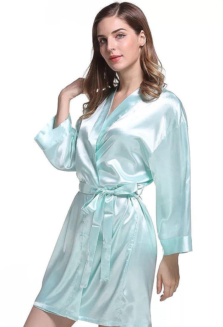 In-fashion style Women Satin Short Sleepwear Robe Knee Length Bathrobe Plus Size