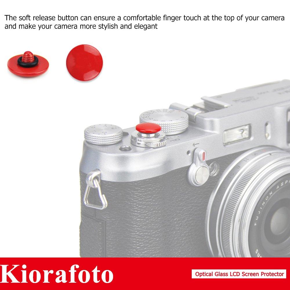Kiorafoto 2 Pack Optical Tempered Glass Screen Guard Fujifilm Xt10 Protector Red Convex Surface Camera Shutter Release Button Cap Hot Shoe Cover For Fuji X T10 T20