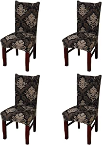 nordmiex Spendex Dining Chair Slipcovers - 4 Pieces Removable Dining Chair Covers Wrinkle and Stain Resistant Chair Protector Fitted Stretch Cushion Covers for Dining Room,-Baroque