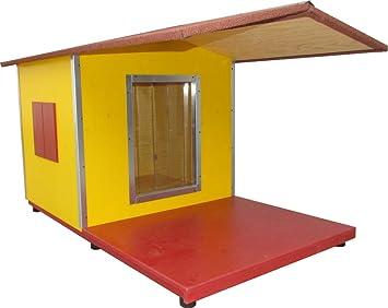 Caseta para perro aislada de madera natural, hecha artesanalmente en Italia, para exteriores, con terraza cubierta, con pintura de agua, montaje fácil: ...