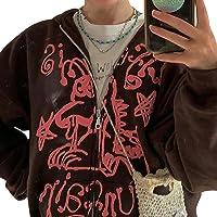 Vrouwen lange mouw Zip Up Hoodie Y2K E-Girl Zakken Oversized Sweatshirt Punk Goth Trekkoord Streetwear Jas, Koffie, S