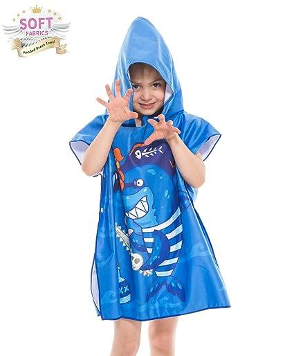 f506cf7733af Amazon.com: Genovega Toddler Hooded Beach Bath Towel – Soft Beach Towel Swim  Pool Coverup Poncho Cape for Boys Kids Children Gift, 1-7 Years Old Bath  Robe: ...