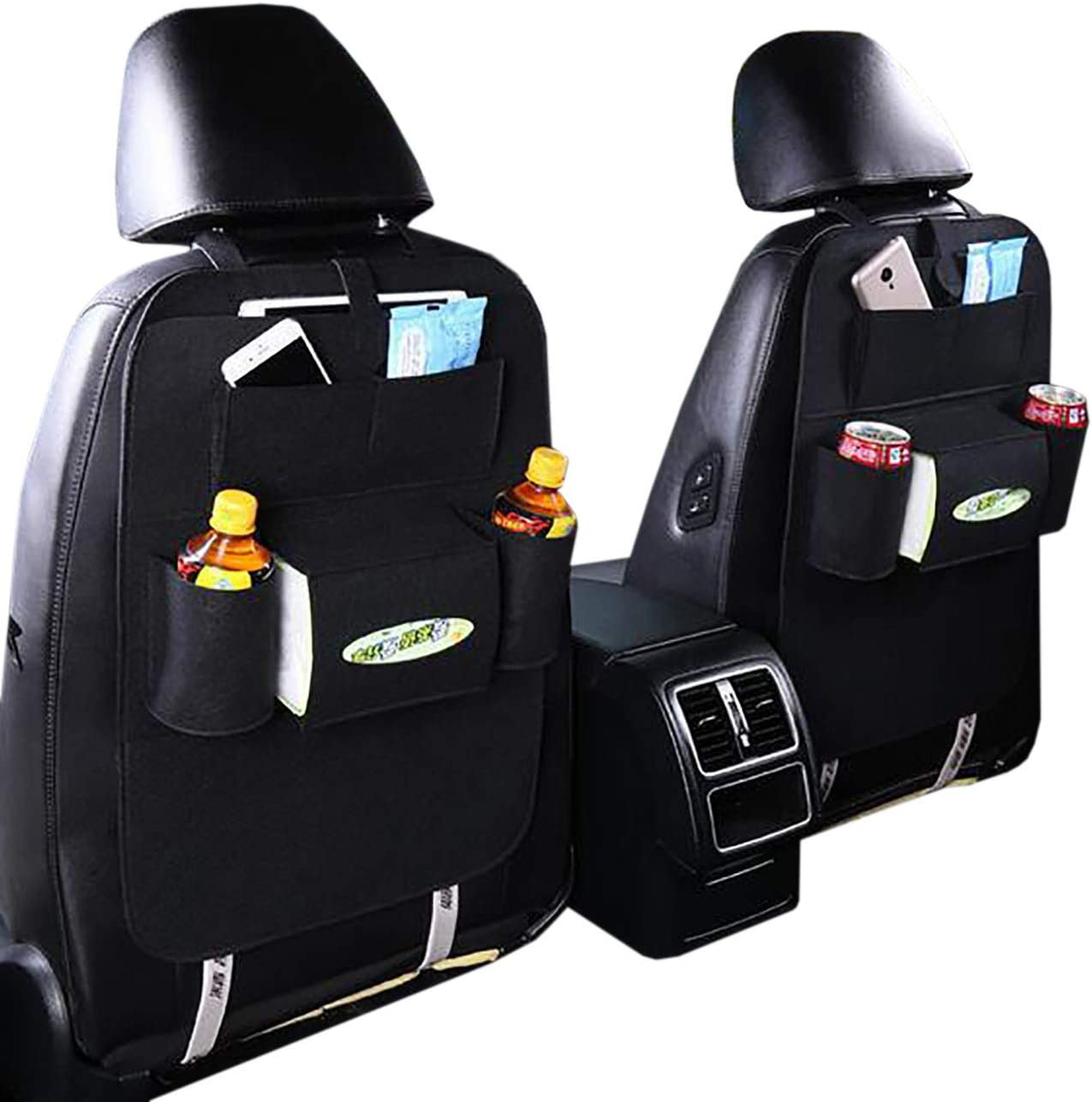 Uheng Car Back Seat Organizer, Backseat Organizer, Baby Kids Kick Mats Car Protector with 7 Multi Pocket Storage Bag Holder for iPad Tablet Bottle Drink Tissue Box Toys (2 Pack, Black)